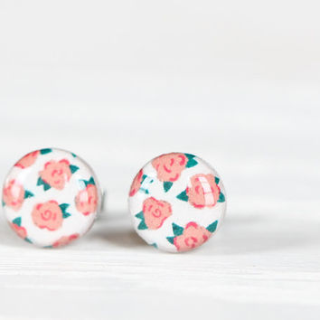Floral Print Post Earrings in Peach and White - Hypoallergenic Studs