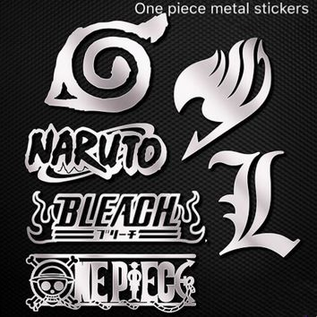 7PCS/Sheet ACG Naruto Bleach Naruto Fairy Tail Death Note One Piece Phone Laptop Self-adhesive Metal Decal Stickers Kids DIY Toy