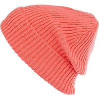 Coral knitted rib rolled up beanie hat - hats - accessories - women