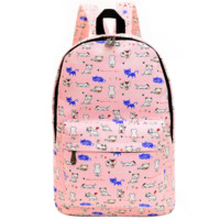 Cute Animal Dogs and Cats Printed Canvas Backpack