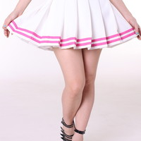 Glitters For Dinner — Made To Order - White Cheer Skirt With Pink Stripes