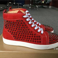 DCCK2 Christian Louboutin Red Suede Silver Louis Spikes Unisex Flat High-Top Sneakers