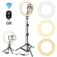 Dimmable LED Selfie Ring Light With Tripod USB Selfie Light Ring Lamp Big Photography Ringlight With Stand For Tiktok Youtube