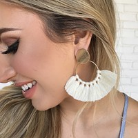 Krista White Fringe Earrings