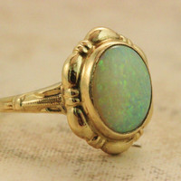 Vintage Opal Ring Antique Ring Art Deco Ring Estate Ring 10k Yellow Gold Ring Engagement Ring Promise Ring Pinky Ring Dainty Ring Size 3.25