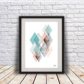 INSTANT DOWNLOAD Abstract Geometric, Retro Mid century, Modern, Minimal art, Scandinavian Design, Nordic Style art, wall art print,