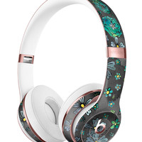Floral Pattern on Black Watercolor Full-Body Skin Kit for the Beats by Dre Solo 3 Wireless Headphones