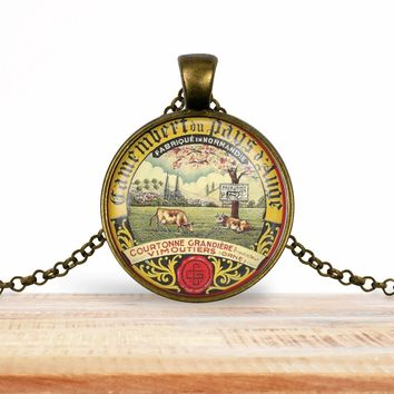 Vintage product label photo pendant - Camembert du pays d'auge- foodie necklace, francophile necklace