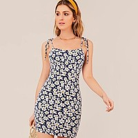 Floral Self-Tie Cami Mini Dress