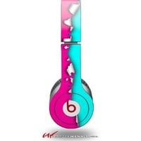 Ripped Colors Hot Pink Neon Teal Decal Style Skin - fits genuine Beats Solo HD Headphones (HEADPHONES NOT INCLUDED)