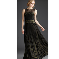 Mignon 2013 Fall Dresses - Black & Gold Pleated Gown