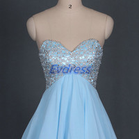 Short sky blue homecoming dress with sequins,chic cheap prom dresses under 150,cute women gowns for cocktail party.