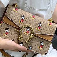 New style Western chain leather printed Mickey shoulder diagonal all-match bag