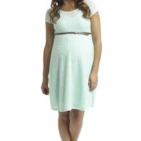 Mint Green Floral Textured Lace Belted Maternity Dress