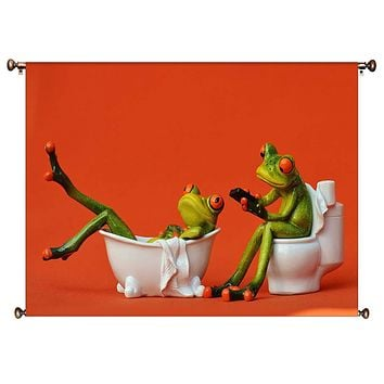Frogs in Bathtub Bathroom Picture on Canvas Hung on Copper Rod, Ready to Hang, Wall Art Décor