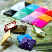 160 PCS X 12mm Square Pyramid Spike Rivets Studs Spot (Your Choice Color or Mix) Metal Matte Finish Diy cell Phone Case Leather Craft (SD12)