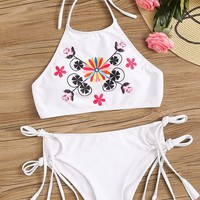 Flower Print Halter Top With Tie Side Bikini Set