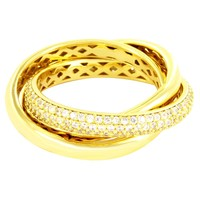 14k Gold Finish Twisted Entangled Triple Sterling Silver Band