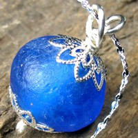 Vibrant Blue Krobo Beads Necklace Silver Plated Chain Snowflake Motif