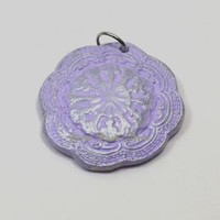 Lavender and Silver Vintage-Style Ceramic Pendant