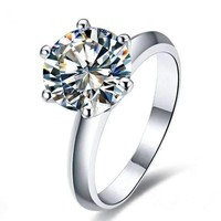 Genevieve 3CT Round Cut IOBI Simulated Diamond Solitaire Sterling Silver Platinum Plated Ring For Woman