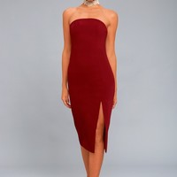 Finders Keepers Lucie Wine Red Midi Dress