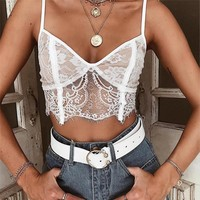 Women Sexy V-Neck Zippered Lace Vest