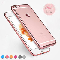"for iPhone 6 6S 6 Plus 5.5"" Ultra Slim Luxury Electroplating Crystal Soft Silicon Clear TPU Case Transparent Back Cover Cheap"