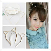 Gold/Silver Neko Ear Pearl Hairband SP152165