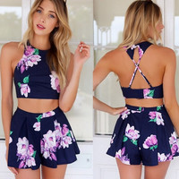 Stylish Lady Sexy Women's Floral Printed Pants Set Casual Halter Off-shoulder Backless Crop Tops and Shorts D_L (Size: L, Color: Blue)