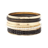 Coated, Pearl & Jewel Bangles - 10 Pack by Charlotte Russe - Black