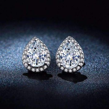 Diamond White Infused 14K White Gold plated 1CT Austrian Crystal Pear Stud Earrings for Women