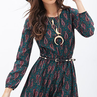 FOREVER 21 Paisley Print Fit & Flare Dress
