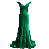 Customize Strapless  Mermaid Satin Floor Length Long Emerald Green  Prom Dress