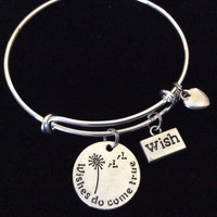 Wishes Do come True Bangle with Stamped Wish Charm and Tiny Silver Heart on Silver Expandable Bracelet Adjustable Wire Stacking Handmade Trendy Gift
