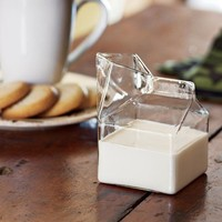 GLASS MILK CARTON CREAMER | Half-Pint, Cartons, Creamers, Milk, Clear, Kitchen, Table | UncommonGoods
