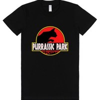 Purrassic Park (Juniors)-Female Black T-Shirt
