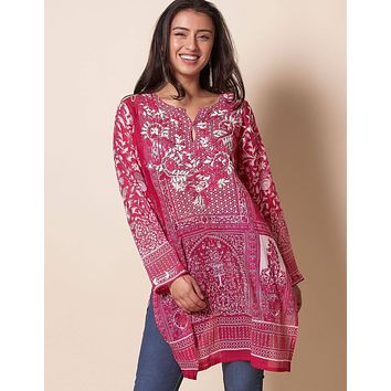 Indira Tunic - Deep Rose - As-Is-Clearance - XL and L Only