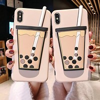 Funny Milk Tea Pattern Phone Case For iphone XS Max XR X Case For iphone 6 6s 7 8 plus Cover Fashion 3D Touch Cartoon Soft Cases