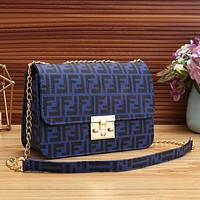 Fendi Fashion New More Letter Print Chain Leather Shoulder Bag Crossbody Bag Women