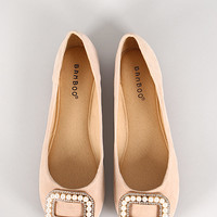 Bamboo Clore-16 Pearl Buckle Ballet Flat