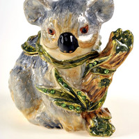 Koala on a Tree Trunk Faberge Styled Trinket Box Handmade by Keren Kopal Enamel Painted Decorated with Swarovski Crystals