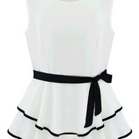 ROMWE Layered Self-tied Belt Dual-tone White Dress