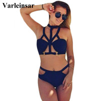 Big breast large bust bra supper push up swimsuit caged High waist bikini set cut out  bathing suit swimwear women biquini V85