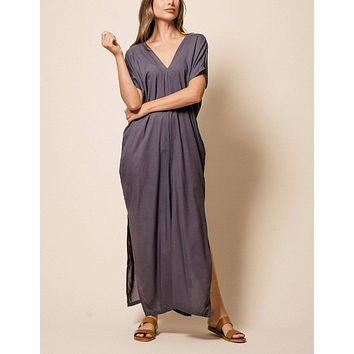 Zuri Kaftan Dress - Grey