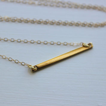 Gold Bar Necklace Statement Jewelry - Gold Bar Charm Necklace - Gift Under 20 - Simple Dainty Gold Jewelry Long Bar Necklace Bridesmaid Gift