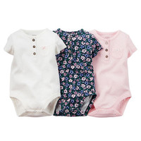 3-Pack Short-Sleeve Henley Bodysuits