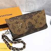 LV New fashion monogram print leather wallet purse handbag
