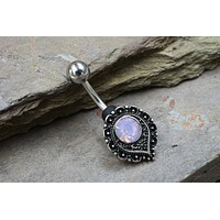 Pink Opalite Crystal Paisley Belly Button Ring