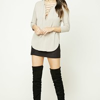 Lace-Up Dolphin Hem Top